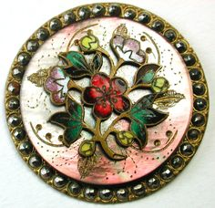 Lg Sz Antique French Enamel Button Colorful Flowers on Shell w/ Cut Steel Border