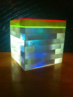 Dichroic Ice Block - an LED/Acrylic based light sculpture that can stand alone or be suspended in a group, possibly for an atrium. #LightlinkLighting #Houzz #ZenIndustrial