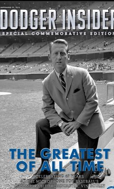 The Dodgers will be giving out a special commemorative edition of Dodger Insider magazine celebrating the life and career of Vin Scully to the first 50000 fans in attendance on Sunday September on Fan Appreciation Day. Dodgers Baseball, Let's Go Dodgers, Dodgers Nation, Baseball Pants, Baseball Players, Dodgers Today, Football, Sandy Koufax, Dodger Blue