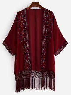 Kimono bordado flecos gasa-(Sheinside)