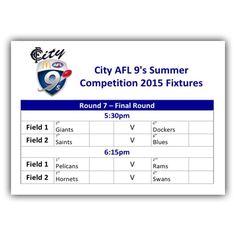 City AFL 9's Summer Competition 2015: Final Fixtures #CityAFL9s @CityAFL9s