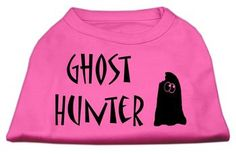 Mirage Pet Products Ghost Hunter Screen Print Shirt Bright Pink With Black Lettering Dog Clothing Apparel Costume Tee Outfit MED (12)