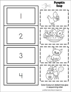 Book Units by Lynn Story Sequencing Worksheets, Sequencing Activities, Kindergarten Activities, Book Activities, Pumpkin Soup Book, Pumkin Soup, Alphabet Crafts, Book Crafts, Halloween Activities