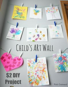 Child's Art Wall  - only a $2 DIY- Pink Oatmeal