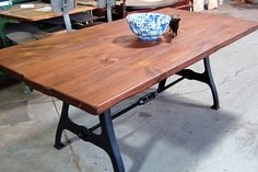 Industrial dining table w/ Cast Iron Legs & Turnbuckle