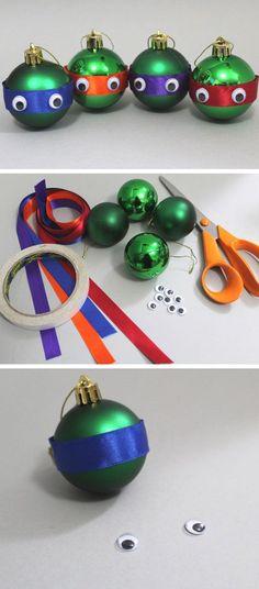 Teenage Mutant Ninja Turtle Baubles | Click for 25 DIY Christmas Crafts for Kids to Make | DIY Christmas Decorations for Kids to Make: