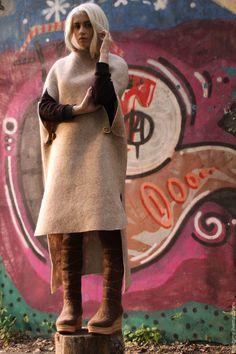 Купить Кейпы с натуральной шерсти - пончо, верхняя одежда, Валяние, одежда, накидка, Овечья шерсть