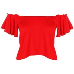 Boohoo Nina Off The Shoulder Ruffle Sleeve Crop ($10) ❤ liked on Polyvore featuring tops, off shoulder tops, red crop top, red polka dot top, cami top and red off shoulder top