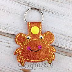 Machine Embroidery CRAB Snap Tab/Key Fob DIGITAL Embroidery Design by Buggalena on Etsy https://www.etsy.com/listing/234229396/machine-embroidery-crab-snap-tabkey-fob