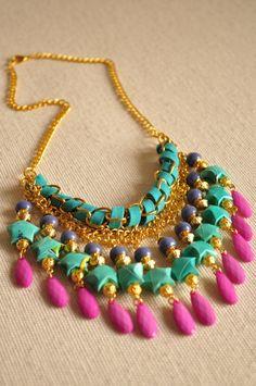 Gargantilla de Origami - Collares Beaded Necklace Patterns, Beaded Statement Necklace, Necklace Designs, Trendy Necklaces, Handmade Necklaces, Handmade Jewelry, Bead Jewellery, Beaded Jewelry, Jewelery