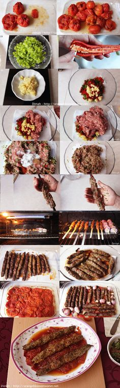 Minced Beef Kabob Skewers in Tomato Sauce | Kabab Kafta Khashkhash