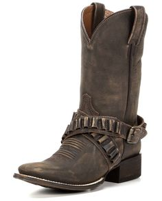 Take aim in the Peacemaker Square Toe Cowgirl Boot. This versatile western boot is made from soft saddle brown leather. The double harnesses are made from two authentic ammo belts and secured with a brasstone buckle. A square toe provides all-day comfort, and the comfort insole cushions each step to reduce foot fatigue. Walk with sharpshooting style in the Peacemaker Cowgirl Boot. <br><br><BR>Pull on new cowgirl boots courtesy of Mr. Goodtime himself! American Rebel Boot Company and Co...