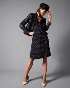 polka dot v-neck midi dress