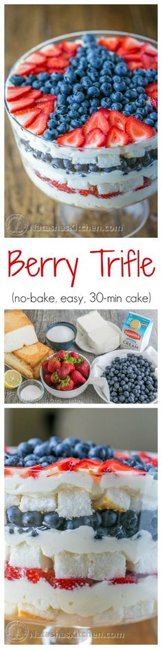 A no-bake berry trifle recipe that takes just 30 min! Loaded with blueberries, strawberries, layers of soft angel food cake and fluffy cream. Delicious! | http://natashaskitchen.com