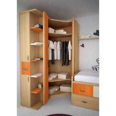 Corner Wardrobe Closet, Bedroom Wardrobe, Bedroom Cupboards, Bedroom Cupboard Designs, Baby Cupboard, Bedroom Office Combo, Corner Furniture, Cool Bunk Beds, Wardrobe Design