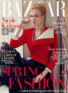 Nicole Kidman in Alexander McQueen on the March 2016 Cover of Harpers BAZAAR UK