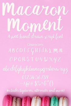 Macaron Moment - a sweet hand drawn script font - This tasty typeface is perfect for packaging, business cards, branding, or t-shirts. Handwritten Fonts, Script Fonts, Serif Font, Commercial Use Fonts, Hand Drawn Fonts, Cute Fonts, Nest Design, Modern Fonts, Free Logo