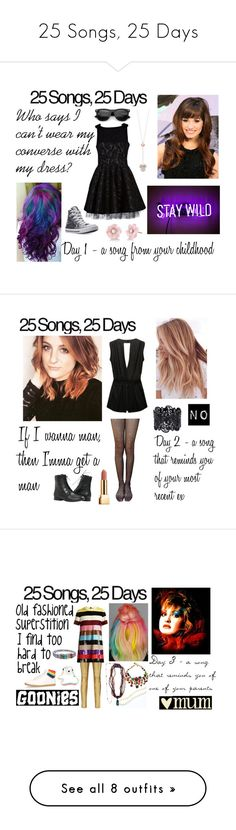 """25 Songs, 25 Days"" by ballerinahippie on Polyvore featuring Converse, Disney, Irene Neuwirth, Yves Saint Laurent, Gucci, Intermix, NOVICA, Fujifilm, Chanel and Anne Klein"