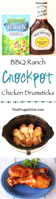 Adding delicious fun to your dinner has never been easier than with this Crockpot BBQ Ranch Chicken Drumsticks Recipe! Grab the napkins, this dinner is going to be finger licking delicious! What You'l (Summer Crockpot Recipes) Crock Pot Food, Crockpot Dishes, Crock Pot Slow Cooker, Slow Cooker Recipes, Cooking Recipes, Crockpot Meals, Chicken Leg Recipes Oven, Easy Recipes, Slow Cooker