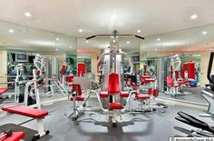 Home Gym with full mirror walls