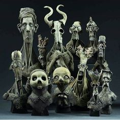 A collection of creepy creatures from artist @dugstanat. Such killer style! -- #freakshow #sculpt #spfx #sfx #badass #sculpture #creature #monster #cute #creepy #macabre #horror #gothic #skeleton #nightmare #zombie #ghoul #frankenstein #freaks