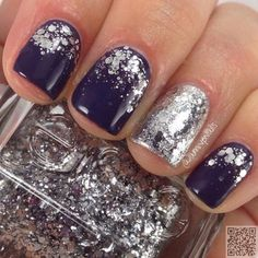 7. Dark #Purple with Silver #Glitter - Got Short #Nails? Here Are the Nail Art…