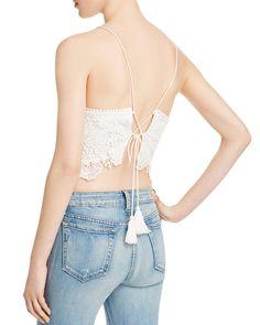 Cotton Candy LA Tie Back Lace Crop Top