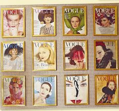 vintage vogue magazines framed by charlotte moss for display in her powder room