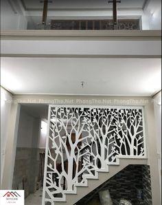 Staircase Railing Design, Staircase Wall Decor, Home Stairs Design, Home Room Design, Home Interior Design, Interior Decorating, Living Room Partition Design, Room Partition Designs, Wooden Front Door Design