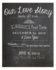 Our Love Story Chalkboard Print - DIY, weddings, home decor, engagement, party, save the date, anniversary, invitation, program
