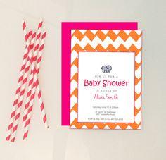 Chevron Baby Shower Invitation // Elephent Baby by YellowBrickPS, $1.50