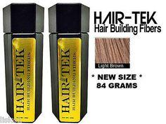 HAIR-TEK Hair Building Fibers,2_ 84gms_ Lt Brown *NEW SIZE * Hair Loss Concealer