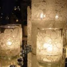 Wedding- DIY cheap and easy Wedding table decoration, sheer lace wrapped around a plain glass candle holder and vase.Can be used for wedding centerpieces or aisle decor. Candle Wedding Centerpieces, Diy Candles, Lace Candles, Centerpiece Ideas, Floating Candles, Flameless Candles, Lace Wedding Decorations, Ideas Candles, Vintage Centerpieces