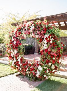 A Bold Red Wedding Complete with an Explosion of Flowers and a Floral Chandelier! A Bold Red Wedding Complete with an Explosion of Flowers and a Floral Chandelier! Ceremony Arch, Wedding Ceremony, Wedding Altars, Wedding Arches, Wedding Arrangements, Floral Arrangements, Red Flowers, Beautiful Flowers, Beautiful Scenery