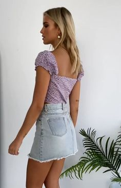 Milana Crop Top Lilac - Lilly is Love Cute Comfy Outfits, Trendy Outfits, Summer Outfits, Summer Clothes, Cute Skirts, Mini Skirts, Tulle Skirt Dress, Purple Crop Top, Denim Skirt Outfits