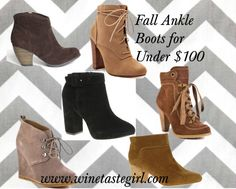 """Fall Ankle Boots for Under $100"" by winetastegirl on Polyvore"