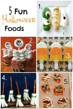 5 Fun Halloween Foods for your Halloween party! Desserts and tasty appetizers. Fun recipe and ideas!