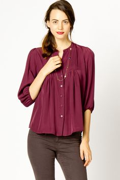 oxblood colored blouse-great casual blouse that can be dressed up, as well