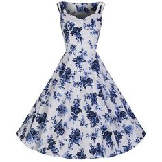 1aeefb9cc0 White and Blue Vintage Floral Blossom Rockabilly Swing Dress - Pretty Kitty  Fashion