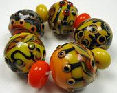 Sunshine lampwork bead set by KitzbitzArtBeads on Etsy, Lampwork Beads, My Sunshine, Glass, Etsy, Drinkware, Glas