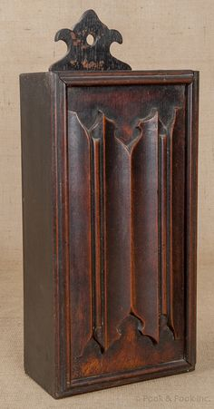 "oak candlebox, mid 18th c., with a linen fold carved slide lid, 4 3/4"" d., 18 1/2"" h., 8"" w. ...~♥~"