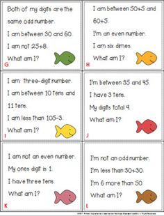 120 Riddle Task Cards for the 120 Chart Set 2 Place Value Worksheets, Kids Math Worksheets, Math Activities, Math Games, Math Homework Help, Math Talk, Math Lessons, Spanish Lessons, Math Skills