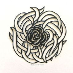 """This """"tangly rose"""" papercut design is the latest in my papercutting series (where I'm trying to adapt and hand-cut 100 papercuts in 100 days. Rose Leaves, Art Nouveau Design, Arts And Crafts Movement, Kirigami, Clay Tutorials, One Design, Laser Cutting, Tribal Tattoos, Cardmaking"""