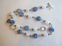 Blue Kyanite and Rainbow Moonstone Necklace by SassafrasBeadWorks