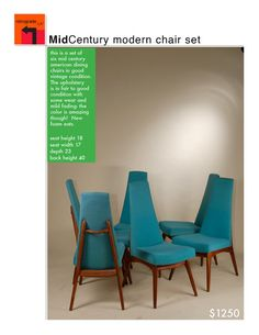 Set of 6 Mid Century Modern High Backed Blue by RetrogradeLA