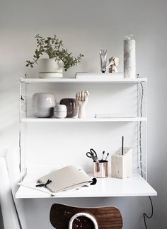 White String system wall-mounted desk and shelving, plant, copper stationery cup, vintage chair Small Workspace, Desks For Small Spaces, Desk Space, Workspace Inspiration, Interior Inspiration, Desk Inspo, Positive Inspiration, Inspiration Boards, Design Inspiration