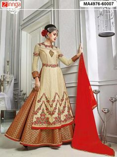 Beige and maroon lehenga kameez with dupatta. Fabric - Banarasi silk (top) and banarasi jacquard (lehenga). Work - Resham embroidery, zari and lace border. Kameez length is approximately inches. Matching bottom and dupatta comes with this. Long Choli Lehenga, Gold Lehenga, Anarkali Gown, Anarkali Suits, Indian Clothes Online, Gown Suit, Fancy Gowns, Lehenga Style, Lehenga Online
