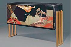 Cabinet de radio du laqueur français Jean Dunand, vers 1930, décoré de motifs évoquant l'esprit jazz de l'époque,