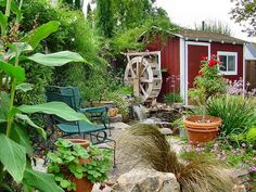 WATERWHEEL FEATURE ADDS INTEREST TO BACKYARD POND