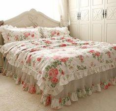 Shabby and Elegante FlowerSea Ruffle/chiffon Duvet Cover Bedding Set, Queen Size